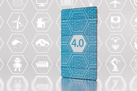 40: Industry 4.0  Internet of things  IIOT concept with smartphone as 3d illustration Stock Photo