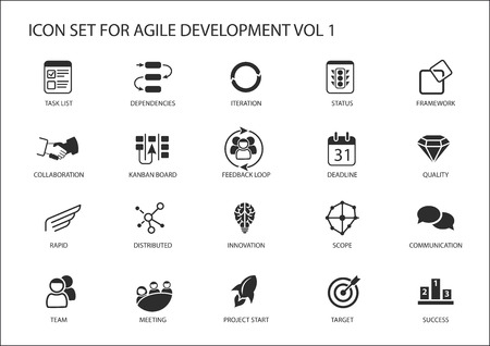 Agile software ontwikkeling vector icon set. Stock Illustratie