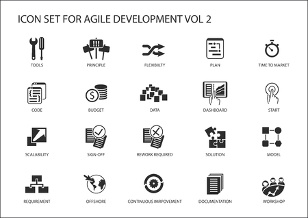 Agile software development vector icon set. Stock Illustratie