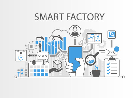 Smart factory concept Stock Illustratie