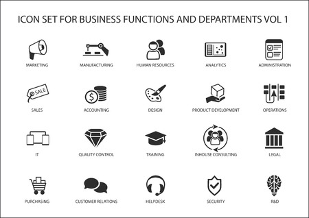 Various business functions and business department vector icons like sales, marketing, HR, R & D, purchasing, accounting and operations.