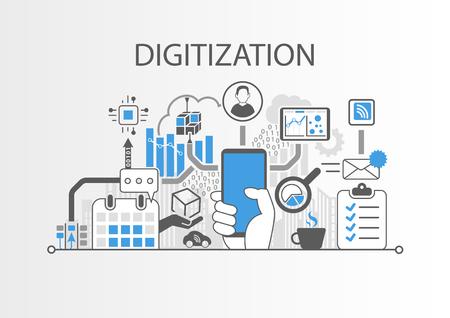 Digitization concept as background vector illustration Illustration