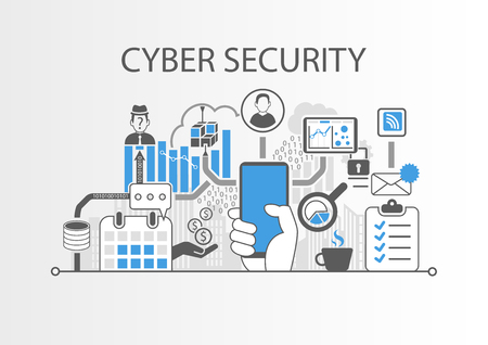 Vector illustration of cyber security