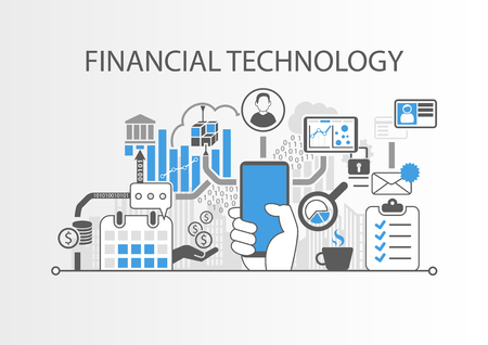 Financial Technology  Fin-Tech concept vector background with hand holding smartphone Illustration