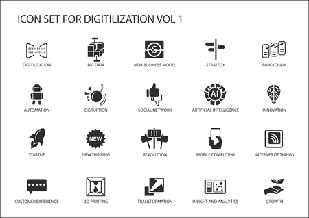 Digitilization vector icons for topics such as big data, blockchain, automation, customer experience, mobile computing, internet of things, insights, analytics Illustration