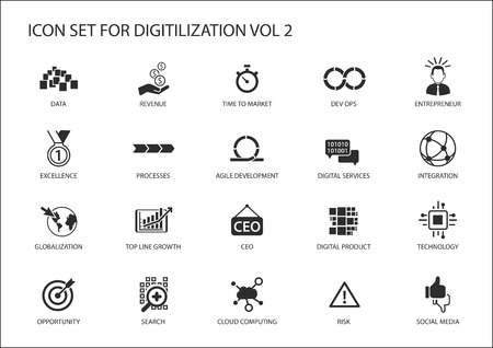 Digital, digital product, globalization, technology, integration, agile development, social media Stock Illustratie