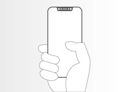 Line icon of frame-less phone in hand. Illustration