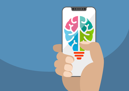 Symbol combining light bulb and brain displays on frameless touchscreen. Hand holding modern bezel free smartphone. Concept for ideation, innovation and creativity.