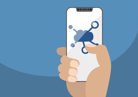 Cloud computing symbol displayed on frameless touch screen. Hand holding modern bezel free smartphone isolated on blue background. Illustration using flat design. Illustration