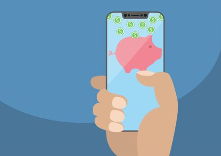 Hand holding modern bezel free smartphone. Piggy bank symbol and euro banknotes on frameless touchscreen. Concept for digital wallet and online payment or banking