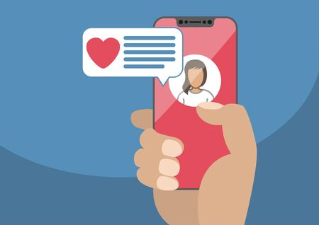 Concept of online dating and mobile chat app. Male hand holding modern bezel-free smartphone as vector illustration with heart icon in chat window. Illustration
