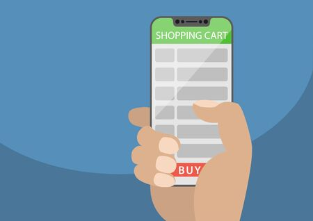 Hand holding bezel-free smartphone with shopping cart as a concept of online shopping. Vector illustration with frameless touchscreen displaying buy button.
