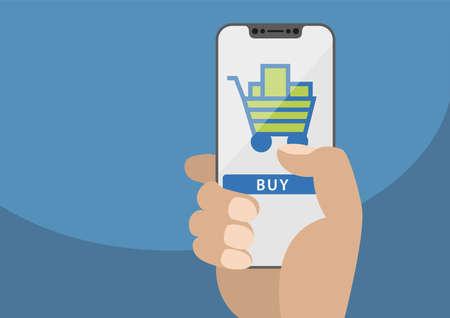 Isolated on white background. Hand holding bezel free smartphone with icon of shopping cart. Illustration