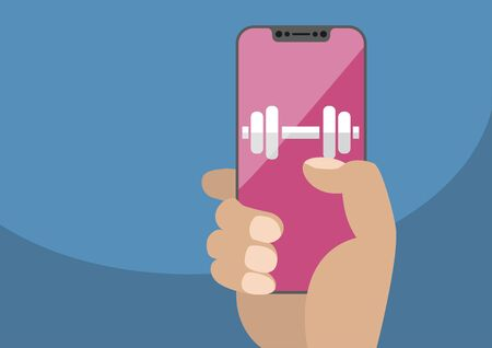 Isolated on white background. Hand holding bezel free smartphone with icon of gym weights. Illustration