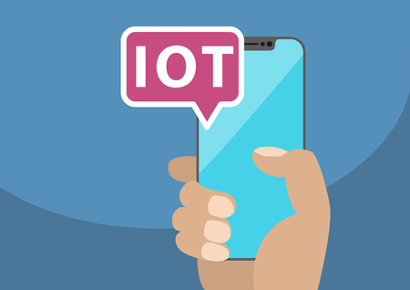 IOT  Internet of Things. Vector illustration with hand holding bezel-free smartphone