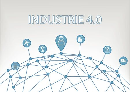 Industry 4.0 text on white background as a vector Illustration with icons of networked objects. Illustration