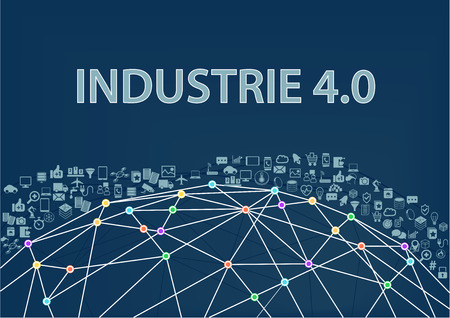 Industry 4.0 vector illustration with network world and objects Illustration