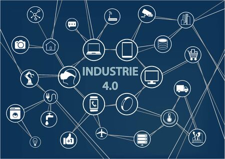 Industry 4.0 text on blue background as a vector illustration with icons of networked objects.