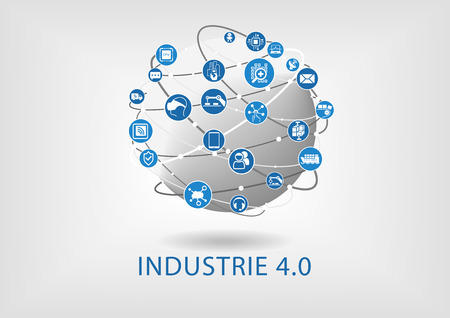 Industry 4.0 text on white background as a vector Illustration with icons of networked objects on a world globe.