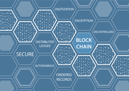 Vector illustration of blockchain concept with blue background. Connected hexagonal shapes. Illustration
