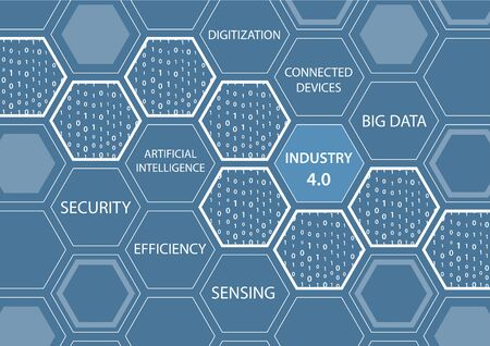 Industry 4.0 concept with blue background and connected hexagonal shapes.