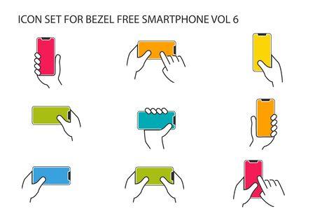 Vectorpictogrammen voor hand die moderne frameloze smartphone in verschillende posities houden. Stock Illustratie