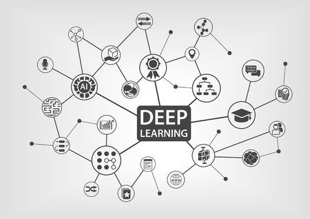 Deep learning concept with text and network icons. Illustration