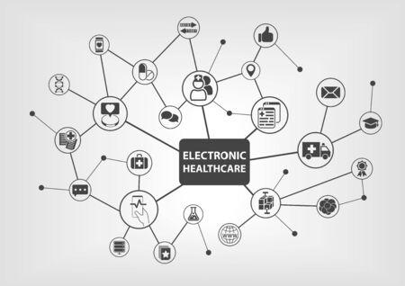 Elektronisch gezondheidszorgconcept met tekst en netwerkpictogrammen op witte achtergrond als vectorillustratie. Stock Illustratie