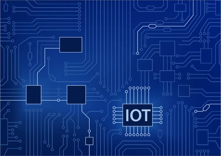 IOT text displayed on circuit board with blue background. Internet of things concept vector illustration Illustration