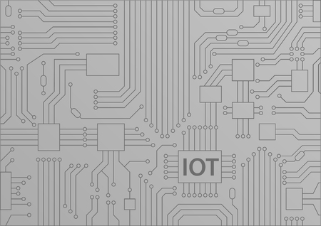 IOT text displayed on the circuit board. Internet of things concept vector illustration Illustration