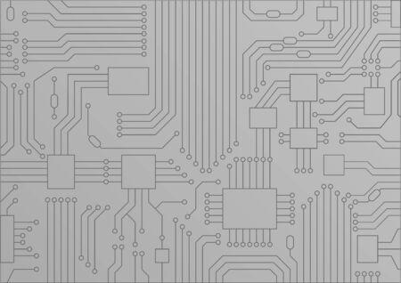 Lichtgrijze vectorillustratie van printplaat  CPU close-up als concept voor digitalisering. Stock Illustratie