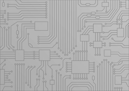 Light gray vector illustration of circuit board  CPU close up as concept for digitization.