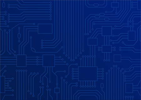 Dark blue vector illustration of circuit board.