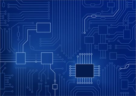 Dark blue vector illustration of circuit board.