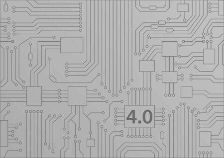 Industrie 4.0 concept als vectorachtergrond met printplaat  cpu-illustratie