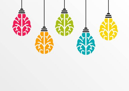 Creativity concept with colorful brain shaped bulbs hanging out of ceiling as vector illustration Illusztráció