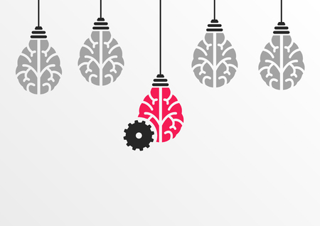 Ideation or brainstorming process concept with the help of machine learning or artificial intelligence Vectores