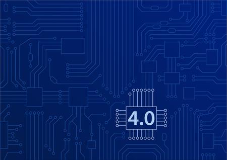 Industrie 4.0 concept als vectorachtergrond met kringsraad  cpu-illustratie