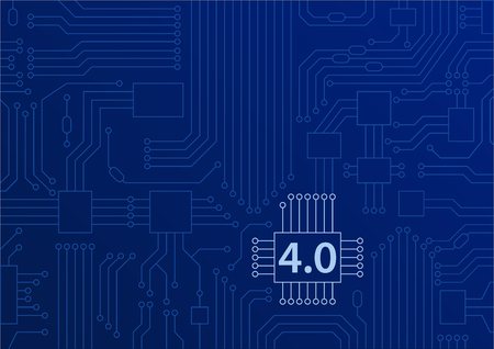 Industry 4.0 concept as vector background with circuit board  cpu illustration