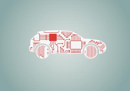 スマート接続されている車のコンセプト - CPU プロセッサを搭載した車のベクトル イラスト