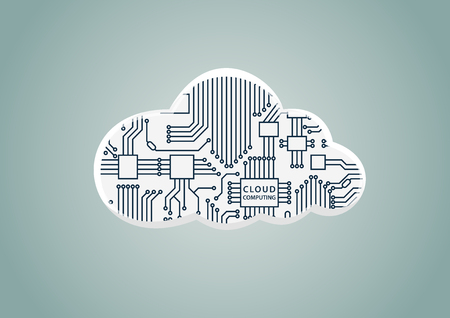 Cloud computing as example for digitization - vector illustration of cloud with computer processor