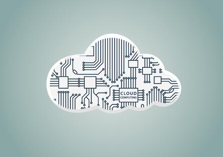 Le cloud computing comme exemple de numérisation - illustration vectorielle de cloud avec processeur informatique