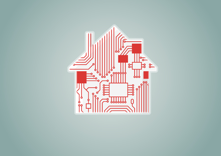 Smart home automation concept illustration of digital house with circuit board. Illustration