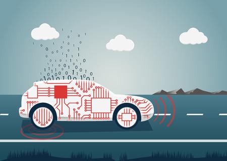 Slimme verbonden auto vectorillustratie. Autopictogram met sensoren en big data