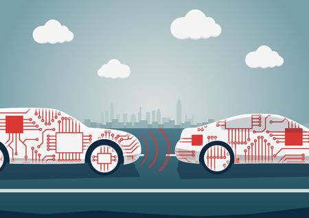Autonomes Fahrkonzept als Beispiel für die Digitalisierung der Automobilindustrie. Vector Illustration von den verbundenen Autos, die miteinander kommunizieren
