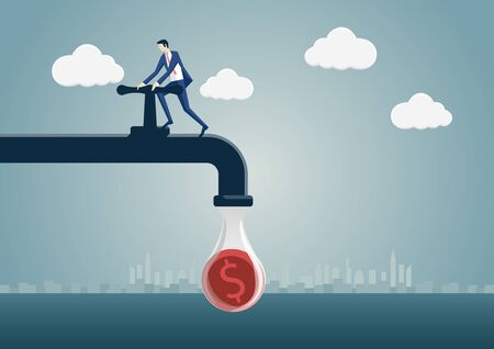 Business man squeezing one dollar out of a money pipeline. Vector illustration of faucet and cartoon character. Concept of reduction, saving, tighten ones belt.