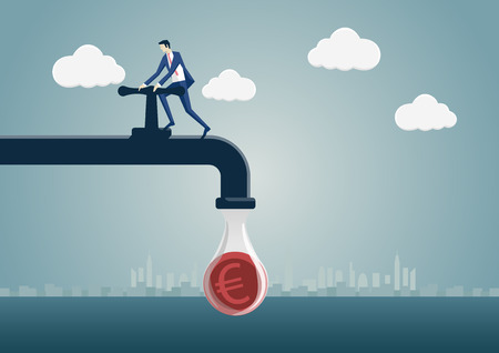 Business man squeezing one euro out of a money pipeline. Vector illustration of faucet and cartoon character. Concept of reduction, saving, tighten ones belt.