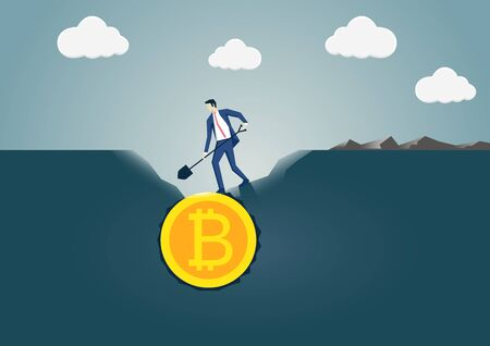 Vector illustration of business man digging and discovering bitcoin gold coin. Concept for bitcoin mining and generation