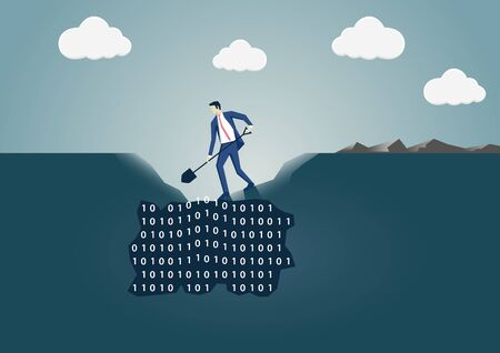 Businessman digging a hole in the ground to search for useful information. Concept for data mining and business intelligence