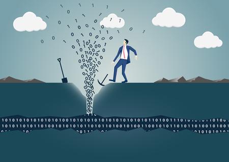 Empresário de perfuração para obter uma mola de informações. Conceito de mineração de dados bem-sucedida, big data e digitalização Foto de archivo - 90789272